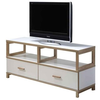 Studio Living Contemporary White and Honey finish 55 Inch TV Console