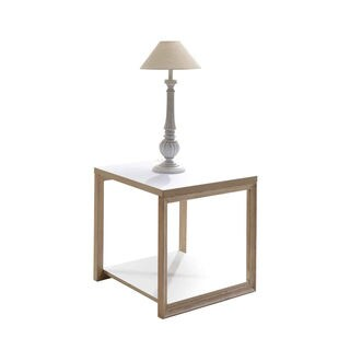 Studio Living White and Honey End Table