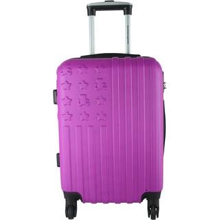 Lulu Castagnette Purple Embossed 20-inch Hardside Carry On Spinner Suitcase