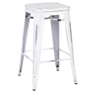 Metal Industrial Counter Stool, Reclaimed Antique White Wood Seat