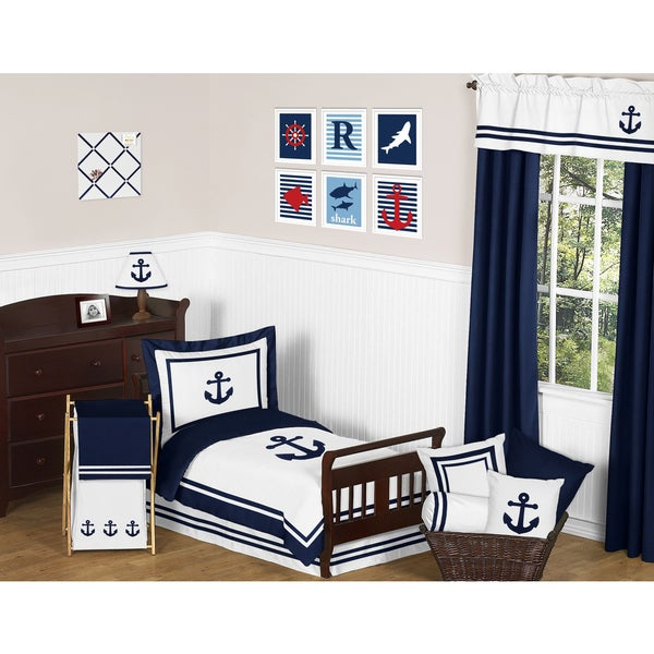 Sweet Jojo Designs Anchors Away Toddler 5-piece Comforter Set