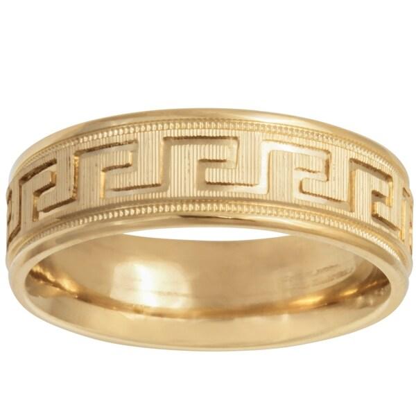 14k Gold Greek Key Design Comfort Fit Wedding Band
