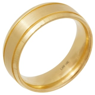 14k Gold Flat Milgrain Comfort Fit Wedding Band