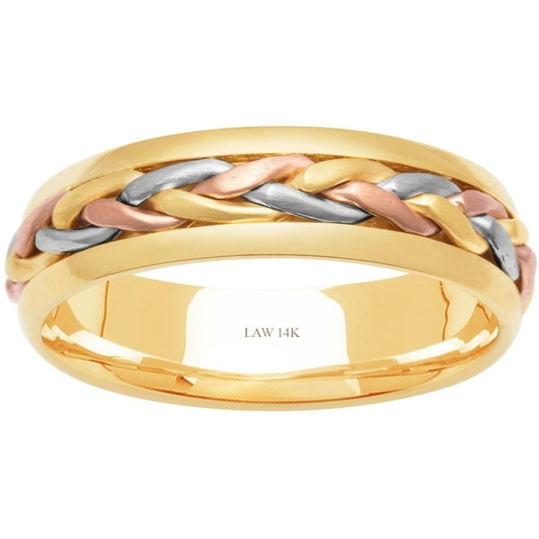 ca997df2b0930 Shop 14k Tri-Color Gold Braided Comfort Fit Men's Wedding Bands ...