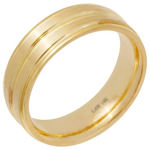 14k Yellow Gold Satin Center Groove Men's Wedding Band
