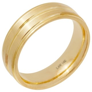 14k Gold Flat Satin Finish Comfort Fit Wedding Band