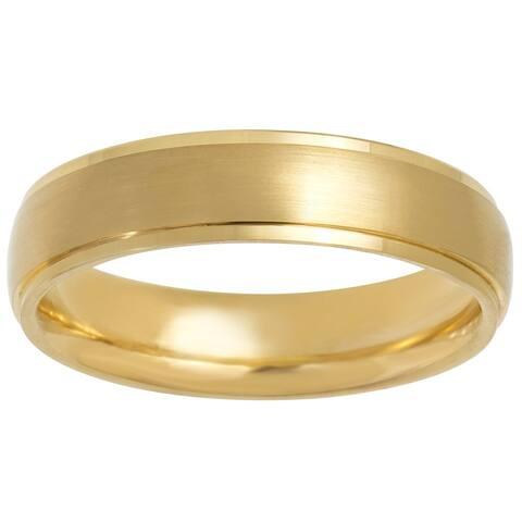 14k Yellow Gold Satin Design Comfort Fit Men's Wedding Bands