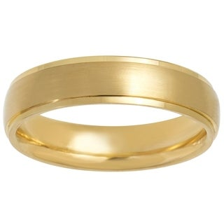 14k Gold Brush Satin Semi Dome Comfort Fit Wedding Band