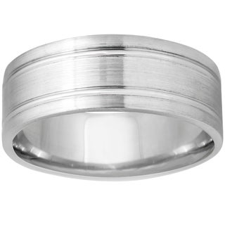 14k White Gold Flat Brushed Satin Comfort Fit Wedding Band (More options available)