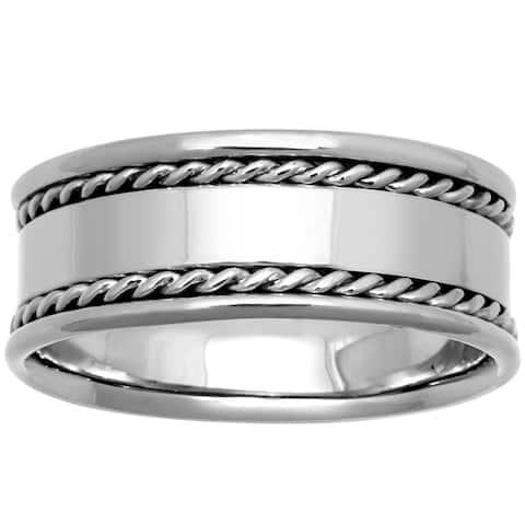 14k White Gold Flat Design Rope Edges Comfort Fit Men's Wedding Bands