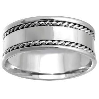14k White Gold Flat Braided Edge Comfort Fit Wedding Band
