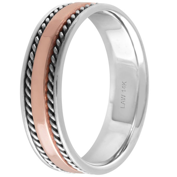 Stainless Steel 2 Color Comfort Fit Flat Band Ring