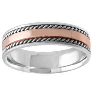 14K Flat Two Tone Braided Edge Wedding Band