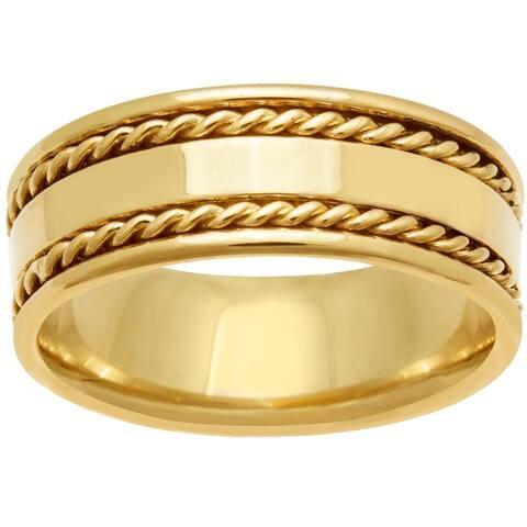 14k Yellow Gold Design Comfort Fit Men's Wedding Bands