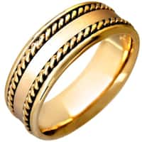 14K Flat Yellow Braided Edges Comfort Fit Wedding Bands