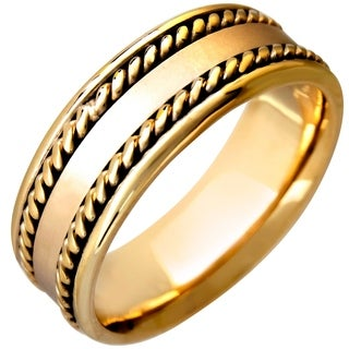 14k Yellow Gold Cross Pattern Comfort Fit Men's Wedding Bands