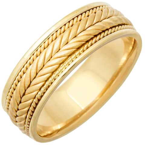14k Yellow Gold Design Comfort Fit Men's Wedding Bands