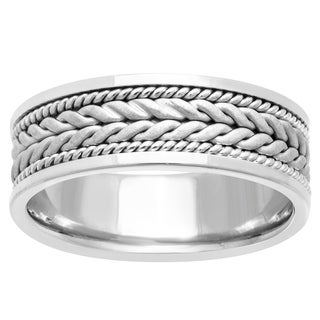 14k White Gold Braided Comfort Fit Wedding Band