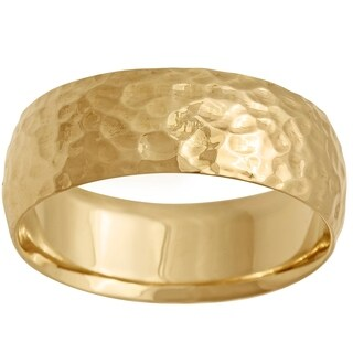 14K Gold Polished Hammered Comfort Fit Wedding Band