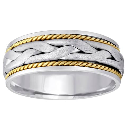 14K Two Tone Hand Braided Comfort Fit Men's Wedding Bands.