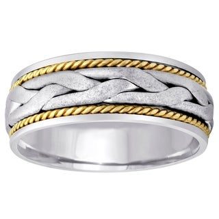 14K Two Tone Braided Wedding Band