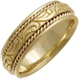 14K Gold Paisley Mens Wedding Band