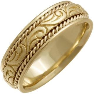 14K Gold Paisley Mens Wedding Band