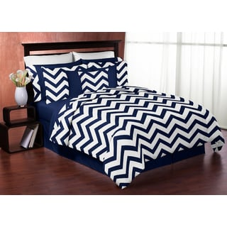 Sweet Jojo Designs Navy Blue and White Chevron Full/Queen 3-piece Comforter Set
