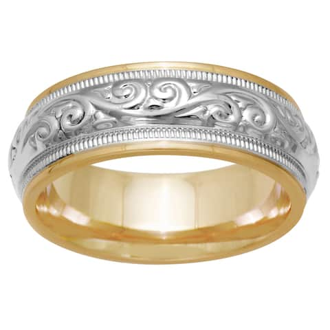 14K Two Tone Gold Paisley Mens Wedding Band