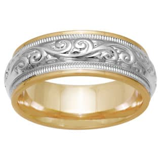 14K Two Tone Gold Paisley Mens Wedding Band|https://ak1.ostkcdn.com/images/products/13003863/P19748137.jpg?impolicy=medium