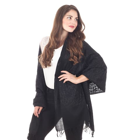 Embroidered Wool Shawl with Fringe