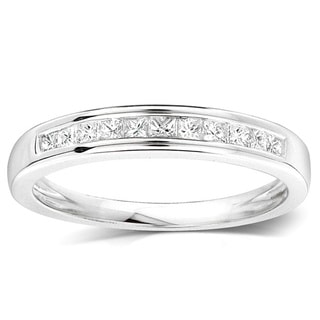 JewelMore 14k White Gold 1/4ct TDW Princess-cut Diamond Wedding Ring (H-I, I1-I2)