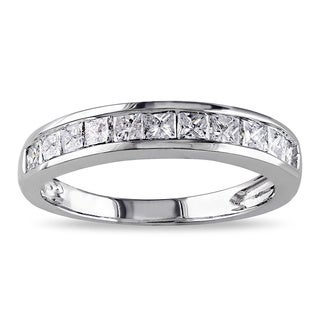 JewelMore 14k White Gold 3/4ct TDW Princess-cut Diamond Wedding Ring