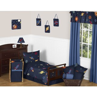 Sweet Jojo Designs Space Galaxy Galactic Planets Rocket Ship 5-piece Toddler Bed in a Bag Set