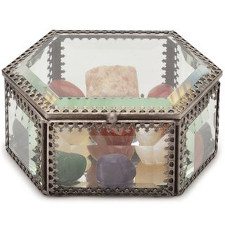 Healing Stones for You Attract Abundance Intention Stone Set in Glass Case