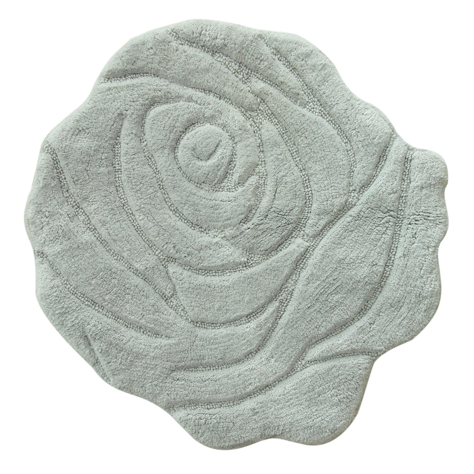 Jessica Simpson Naomi Floral Bath Rug (Grey), Size Round