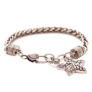 Mayan Series Silver Pewter Starfish Charm Bracelet