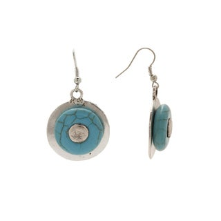 VIntage Silver Turquoise Aztec-design Rounded Dangle Earrings