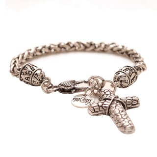 Mayan Series Silver Pewter Solid Link Cross Charm Bracelet