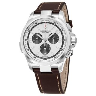 Swiss Army Men's V241729 'Night Vision' Silver Dial Brown Leather Strap Chronograph Swiss Quartz Watch