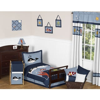 Sweet Jojo Designs Ocean Blue Dolphin, Whale, Starfish Sea Life 5-piece Toddler Bed in a Bag Set