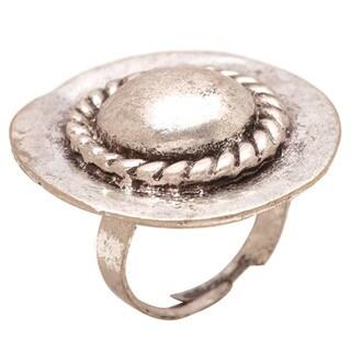 Mayan Series Tribal Design No19 Silver/Pewter Soild Round Hammered Ring