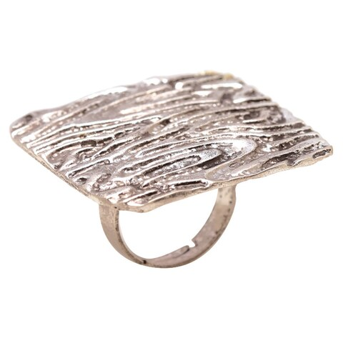 Mayan Series Women's Silver and Pewter Solid Carved Design No 18 Ring