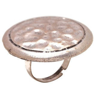 Mayan Series Number 16 Silver and Pewter Solid Round Hammered Design Ring