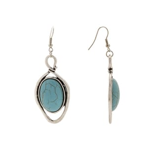 Waterdrop Design No21 Silver Turquoise Aztec-design Vintage Setting Dangle Earrings