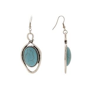 Waterdrop Design No21 Silver Turquoise Aztec-design Vintage Setting Dangle Earrings