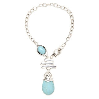 Aztec Style Vintage Silver Handcrafted Waterdrop Turquoise Necklace