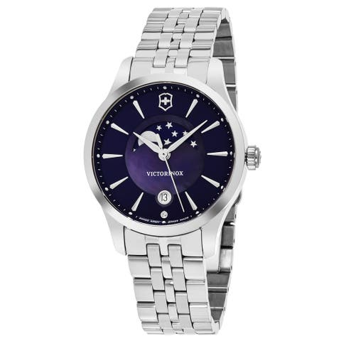 Swiss Army Women's V 'Alliance' Blue Mother of Pearl Dial Stainless Steel Moon Phase Swiss Quartz Watch