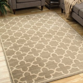 Style Haven Casual Trellis Brown/Tan Polypropylene Area Rug (9'10 x 12'10)