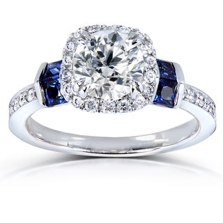 Annello by Kobelli 14k White Gold Certified Sapphire and 1 1/6ct TDW Diamond Eco-Friendly Lab Grown Diamond Hal